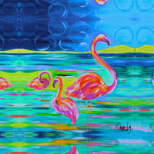 Duo Flamingos Poster Print by Anne Ormsby - Item # VARPDXAOSQ020A