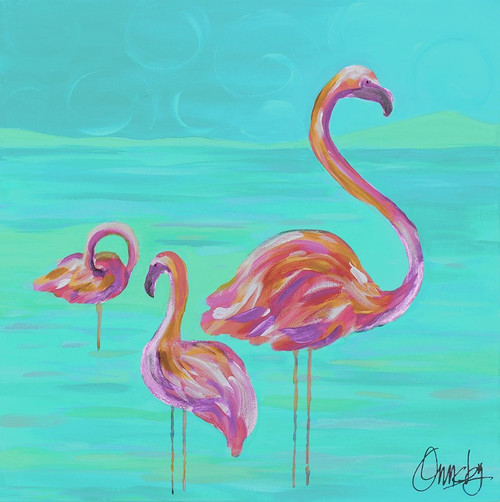 Duo Flamingos Poster Print by Anne Ormsby - Item # VARPDXAOSQ020C