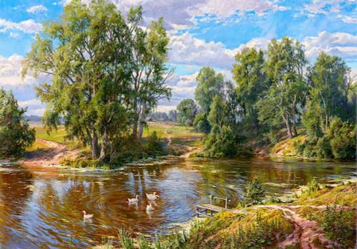 Village pond Poster Print by Sergej Basov - Item # VARPDXBC38