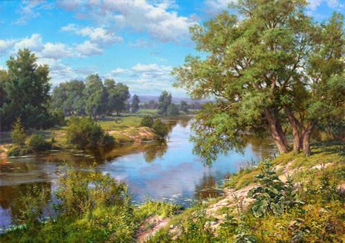 Landscape with river Poster Print by Sergej Basov - Item # VARPDXBC5