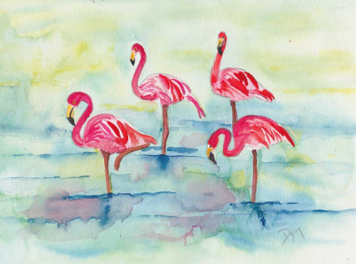 Sunset Flamingoes II Poster Print by Beverly Dyer - Item # VARPDXBDRC143B