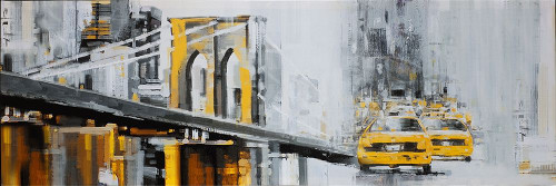 YELLOW BROOKLYN BRIDGE WITH TAXIS Poster Print by Atelier B Art Studio Atelier B Art Studio - Item # VARPDXBEGCIT139
