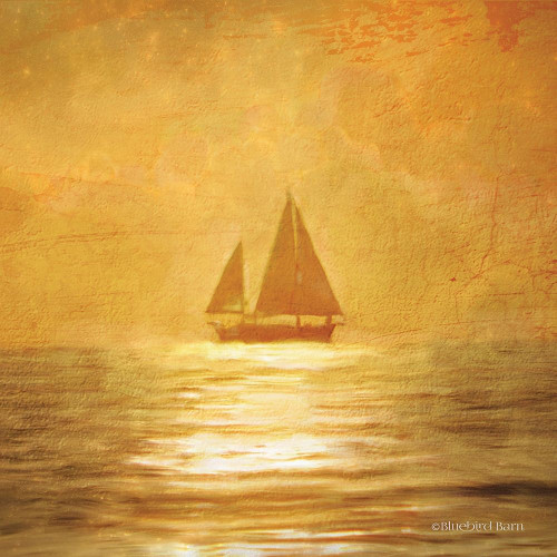 Solo Gold Sunset Sailboat Poster Print by Bluebird Barn Bluebird Barn - Item # VARPDXBLUE223