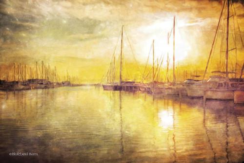 Yellow Sunset Boats in Marina Poster Print by Bluebird Barn Bluebird Barn - Item # VARPDXBLUE224