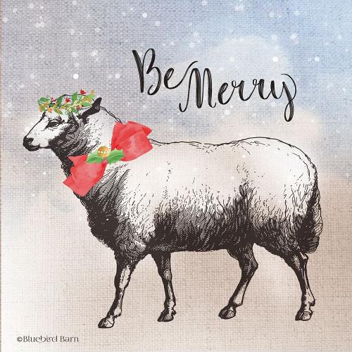 Vintage Christmas Be Merry Sheep Poster Print by Bluebird Barn Bluebird Barn - Item # VARPDXBLUE270