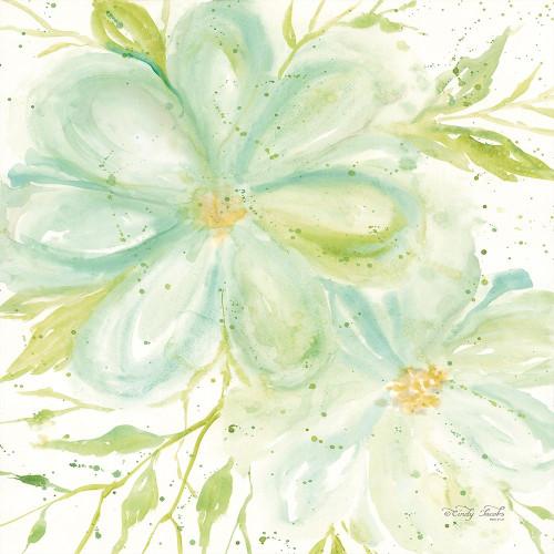 Teal Big Blooms Poster Print by Cindy Jacobs - Item # VARPDXCIN1375