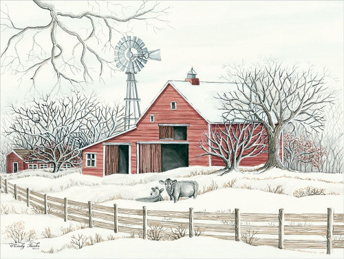 Winter Barn with Windmill Poster Print by Cindy Jacobs - Item # VARPDXCIN1418