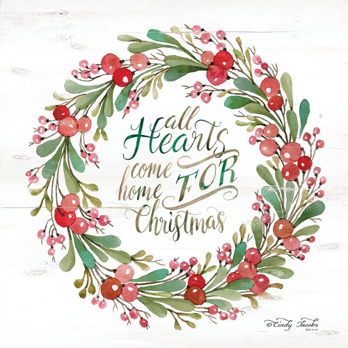 All Hearts Come Home for Christmas Berry Wreath Poster Print by Cindy Jacobs - Item # VARPDXCIN1631