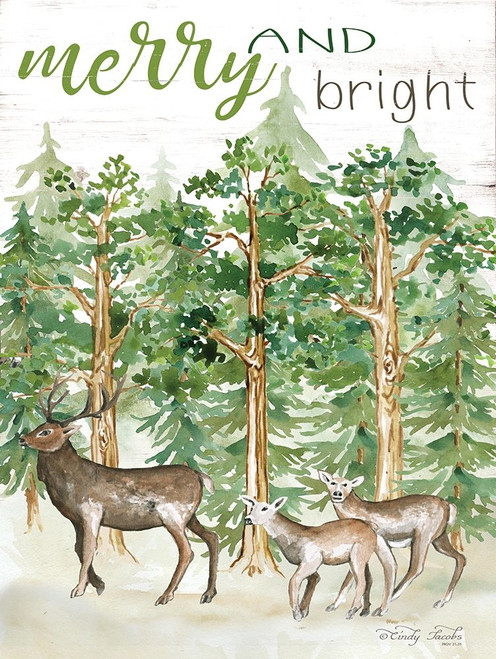 Merry and Bright Deer Poster Print by Cindy Jacobs - Item # VARPDXCIN1636