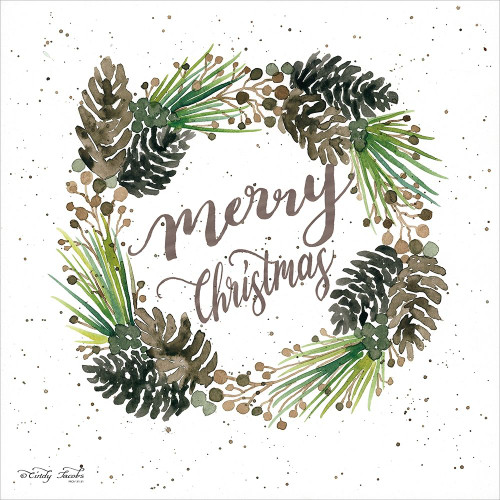 Merry Christmas Wreath Poster Print by Cindy Jacobs - Item # VARPDXCIN688
