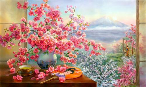 Sakura bouquet Poster Print by Olga Dandorf - Item # VARPDXDO22