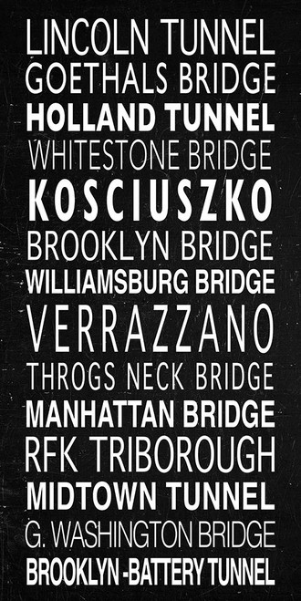NYC Bridges Sign Poster Print by Anonymous Anonymous - Item # VARPDXFAF1288
