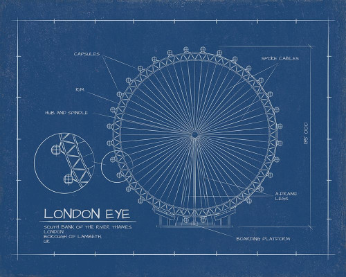 London Eye Blue Print   Poster Print by Sussenn Sussenn - Item # VARPDXFAF1311