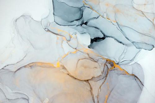 Blue, Grey, Gold Abstract Poster Print by Mari Dein - Item # VARPDXFAF1339