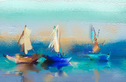 Abstract Seascape and Boats Poster Print by N. Pornmingmas - Item # VARPDXFAF1372