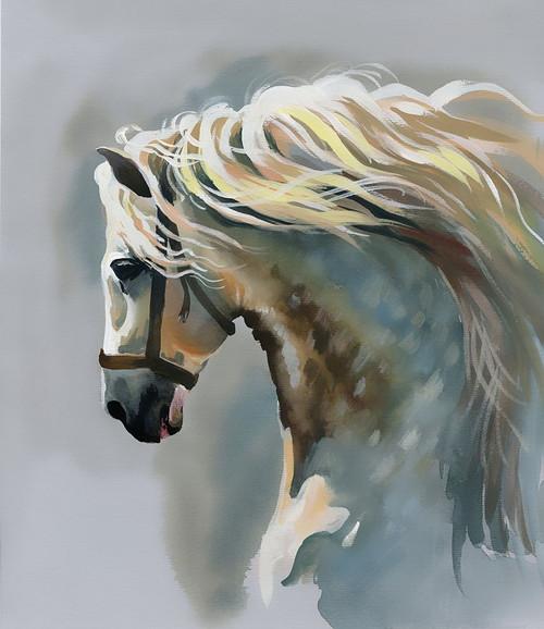 White Stallion Painting Poster Print by N. Starovoitova - Item # VARPDXFAF1467