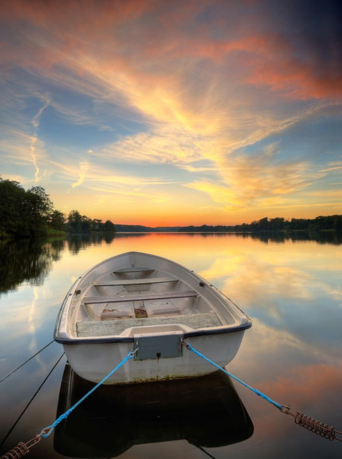 Rowboat on Summer Lake, Color Poster Print by Anonymous Anonymous - Item # VARPDXFAF151C