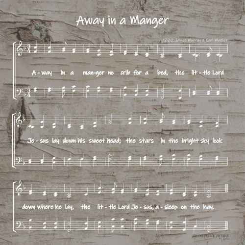 Away in the Manger Sheet Music Poster Print by Front Porch Pickins Front Porch Pickins - Item # VARPDXFPP107