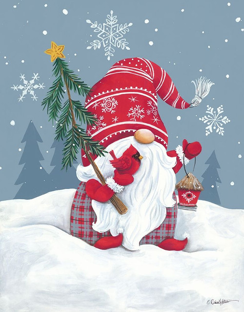 Snowy Gnome with Cardinal Poster Print by Diane Kater # ART1202