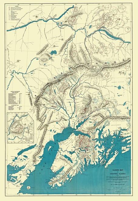 Alaska Central Portion - Sleem 1910 Poster Print by Sleem Sleem # AKZZ0033