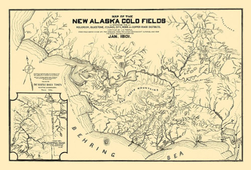 New Alaska Gold Fields - Temple 1901 Poster Print by Temple Temple # AKZZ0009