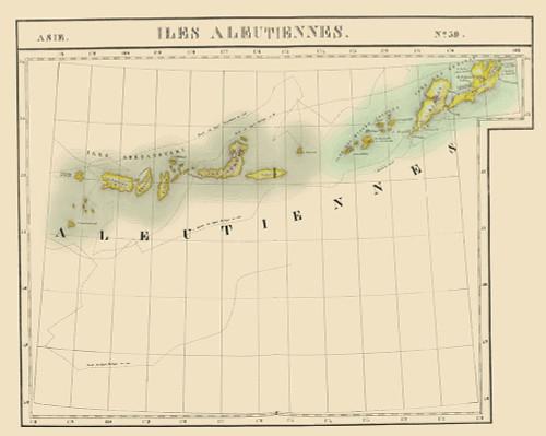 Aleutian Islands Alaska - Vandermaelen 1827 Poster Print by Vandermaelen Vandermaelen # AKZZ0017