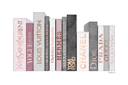 Pink and Rose Gold Books Poster Print by Amanda Greenwood # AGD116462