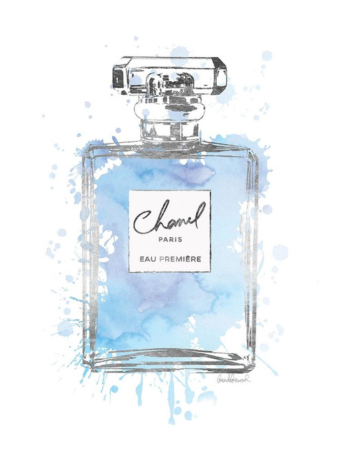 Silver Inky Perfume in Blue Poster Print by Amanda Greenwood # AGD115470