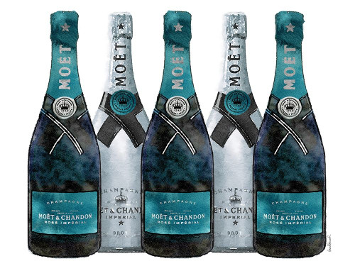 Champange 5 Teal and Silver Poster Print by Amanda Greenwood # AGD115431