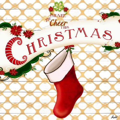 Gold Christmas Cheer I Poster Print by Andi Metz # 9984B