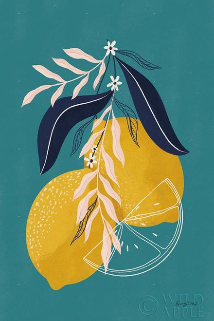 Lemons II Blue Poster Print by Becky Thorns # 64705