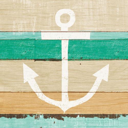 Beachscape III Anchor Green Poster Print by Michael Mullan # 63519