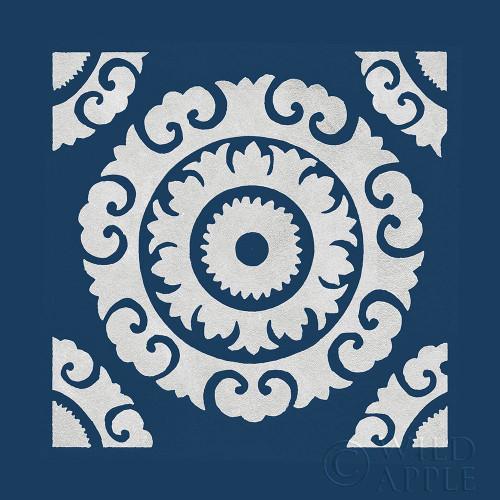 Simply Elegant VIII White on Blue Poster Print by Nancy Green # 63353