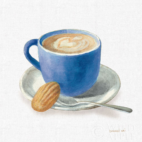 Wake Up Coffee I Linen Classic Blue Poster Print by Danhui Nai # 63064