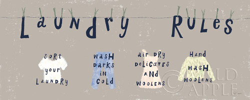Laundry Rules I Gray Poster Print by Sue Schlabach # 62306
