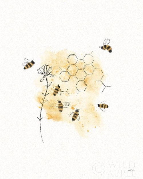 Bees and Botanicals VI Poster Print by Leah York # 61507