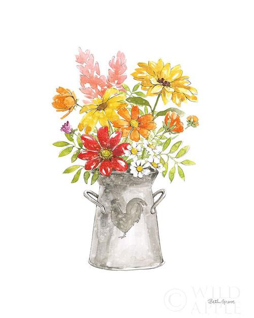 Farmhouse Floral VI White Poster Print by Beth Grove # 61163