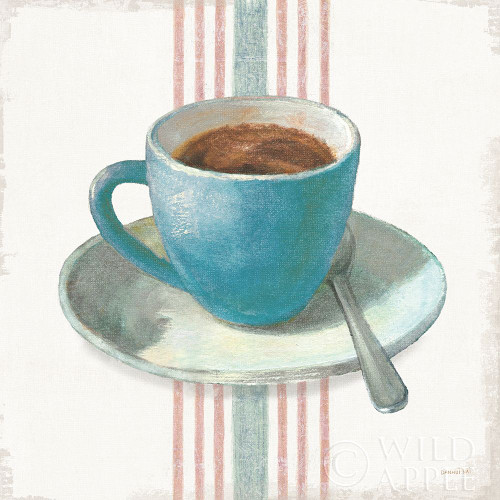 Wake Me Up Coffee IV Blue with Stripes No Cookie Poster Print by Danhui Nai # 61305