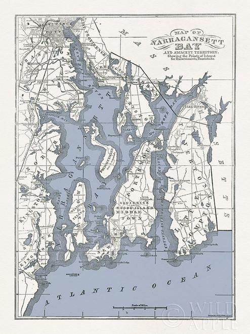 Narragansett Bay Map II Poster Print by Wild Apple Portfolio Wild Apple Portfolio # 60931
