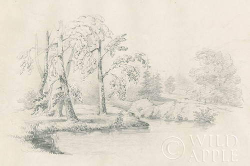 Lakeside Sketch Poster Print by Wild Apple Portfolio Wild Apple Portfolio # 59696