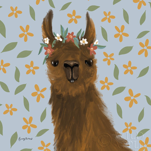 Delightful Alpacas II Floral Crop Poster Print by Becky Thorns # 58403