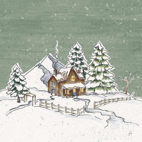 Holiday Toile Cabin Neutral Crop Poster Print by Daphne Brissonnet # 59721