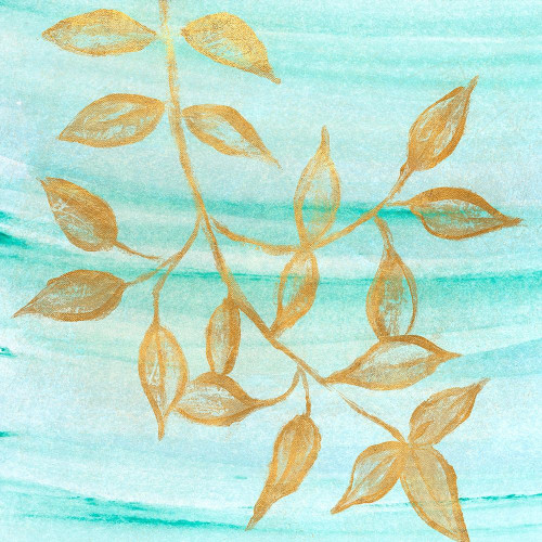 Gold Moment of Nature on Teal II Poster Print by Michael Marcon # 5814C