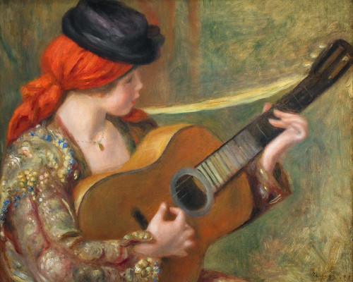 Young Spanish Woman with a Guitar Poster Print by Pierre-Auguste Renoir # 57377