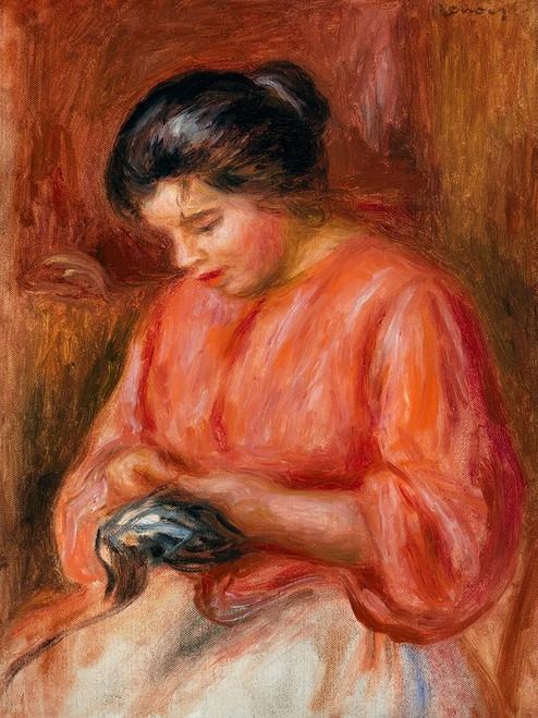 Girl Darning 1909 Poster Print by Pierre-Auguste Renoir # 57164