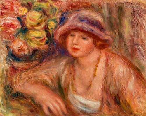 Woman Leaning 1918 Poster Print by Pierre-Auguste Renoir # 57191