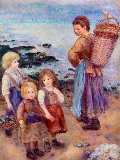 Mussel-Fishers at Berneval 1879 Poster Print by Pierre-Auguste Renoir # 57144