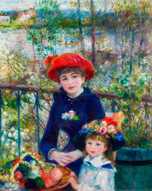 Two Sisters On the Terrace 1881 Poster Print by Pierre-Auguste Renoir # 57130