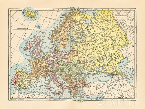 Map of Europe Poster Print by Wild Apple Portfolio Wild Apple Portfolio # 59382
