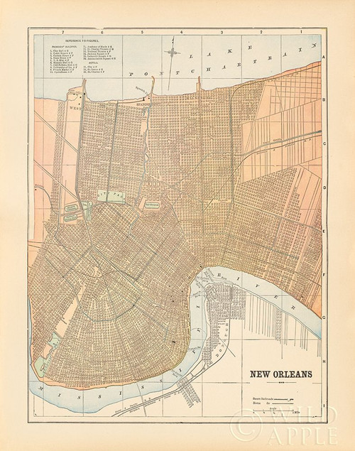 Map of New Orleans Poster Print by Wild Apple Portfolio Wild Apple Portfolio # 59387
